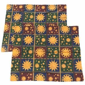 """Vtg celestial sun large pillow cover shams 20""""x25"""""""
